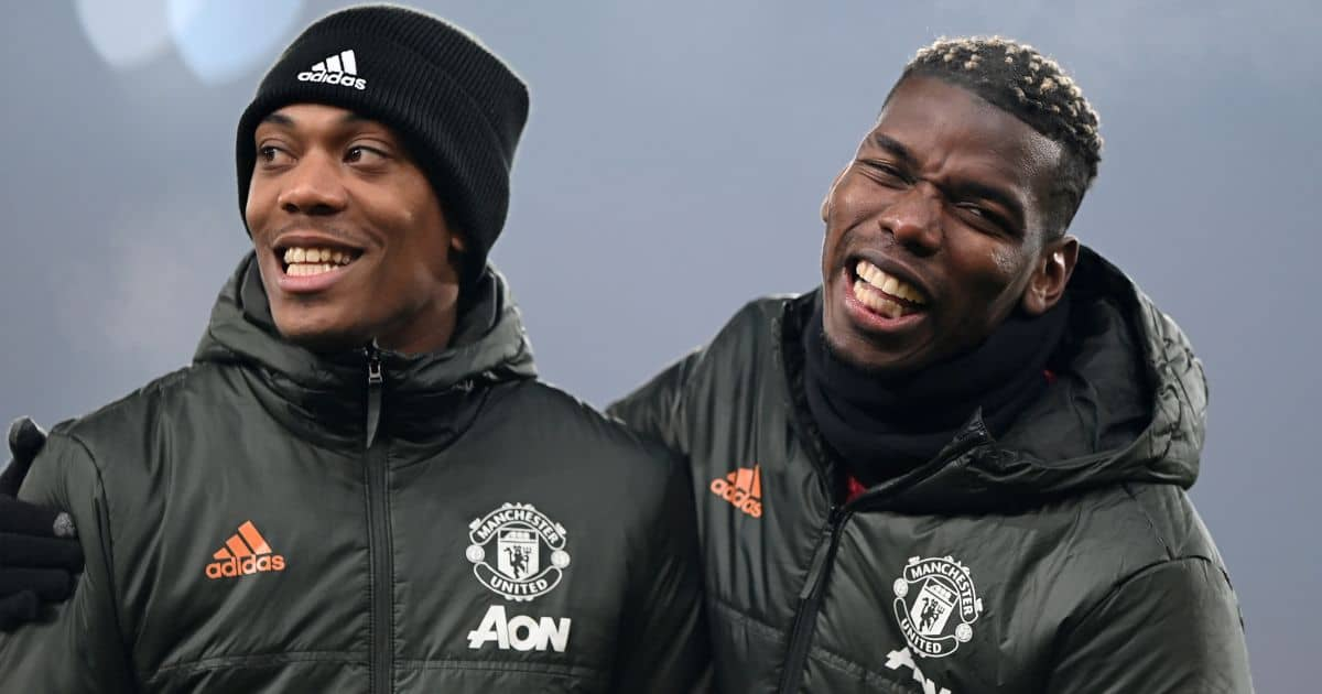 Manchester United's Anthony Martial (left) and Paul Pogba before the Premier League match at Old Trafford