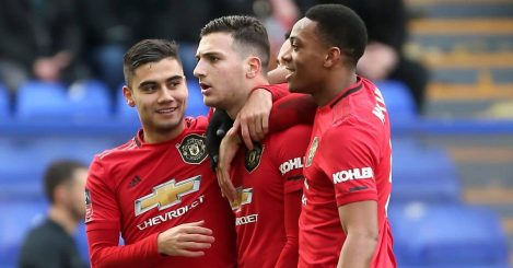 Diogo Dalot (centre) celebrates scoring his side's second goal of the game with team-mates Andreas Pereira