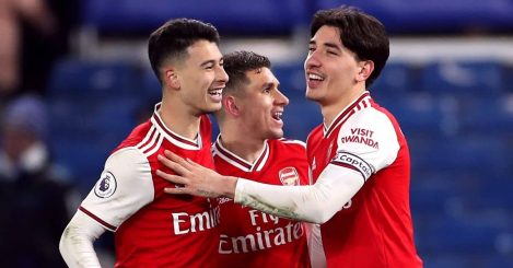 Gabriel Martinelli Lucas Torreira and Hector Bellerin celebrate Arsenal win over Chelsea in January 2020