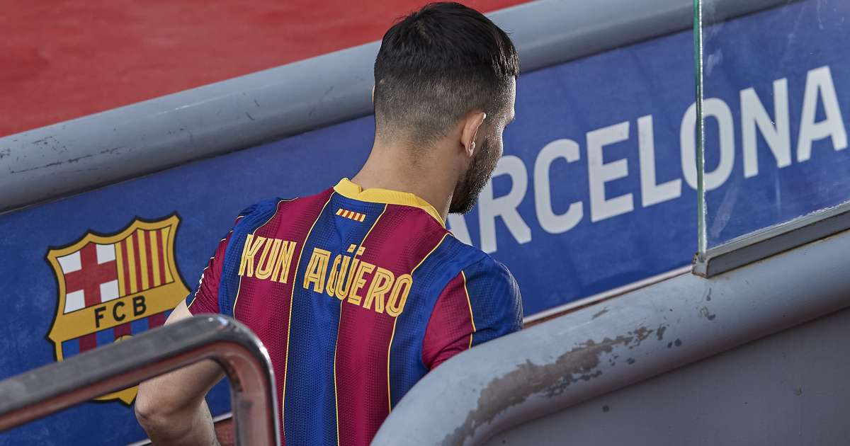 Sergio Aguero walking down the tunnel at the Nou Camp