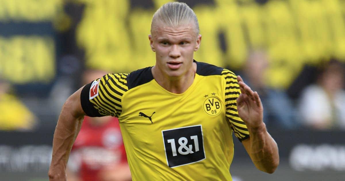 Erling Haaland in Bundesliga action for Borussia Dortmund in their 5-2 victory over Eintracht Frankfurt