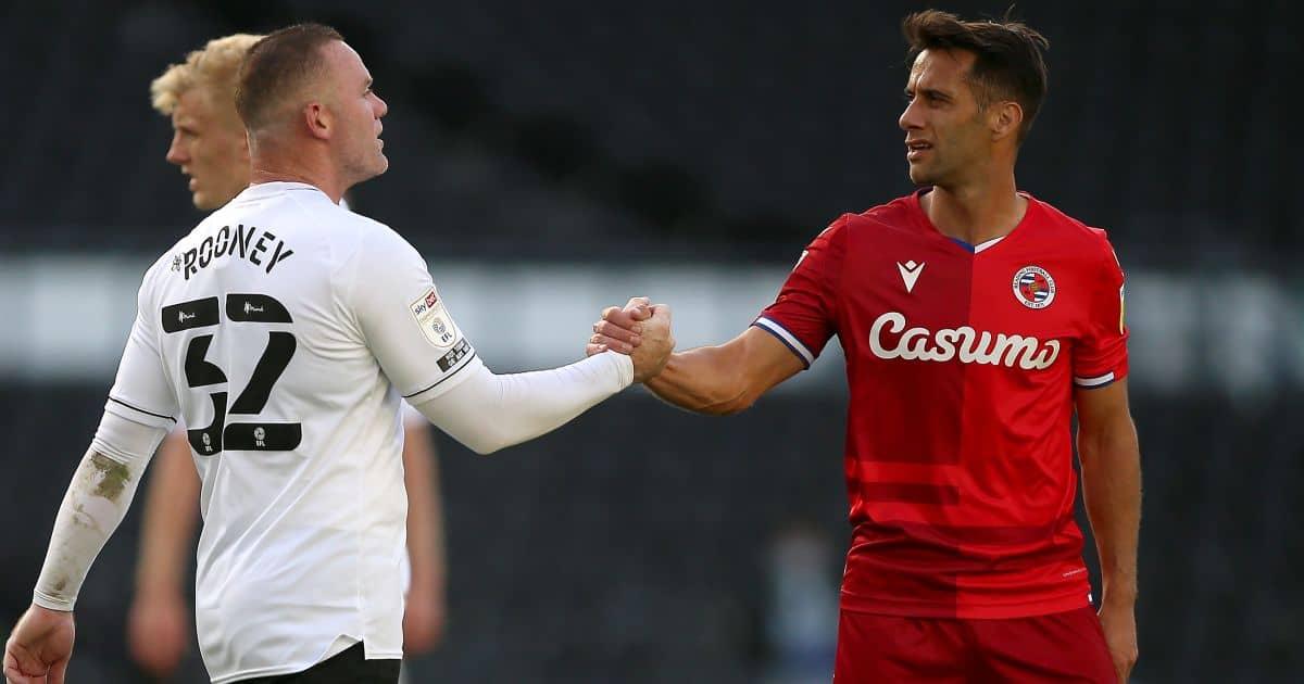 Derby County's Wayne Rooney (left) shake hands with Reading's Sam Baldock, Sky Bet Championship