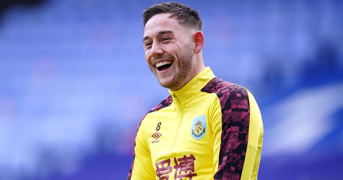 Josh Brownhill, Burnley midfielder, ahead of the match v Crystal Palace at Selhurst Park