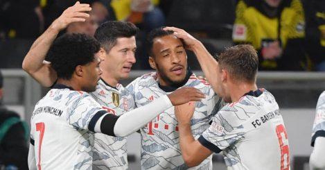 Bayern Munich stars celebrating a goal versus Borussia Dortmund 2021