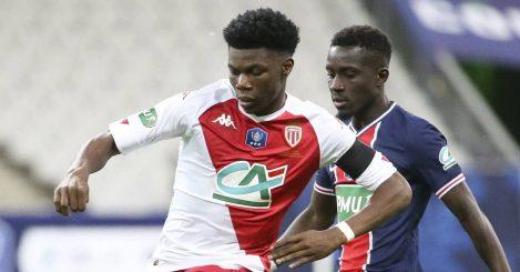 Aurelien Tchouameni and Idrissa Gueye in Monaco v PSG
