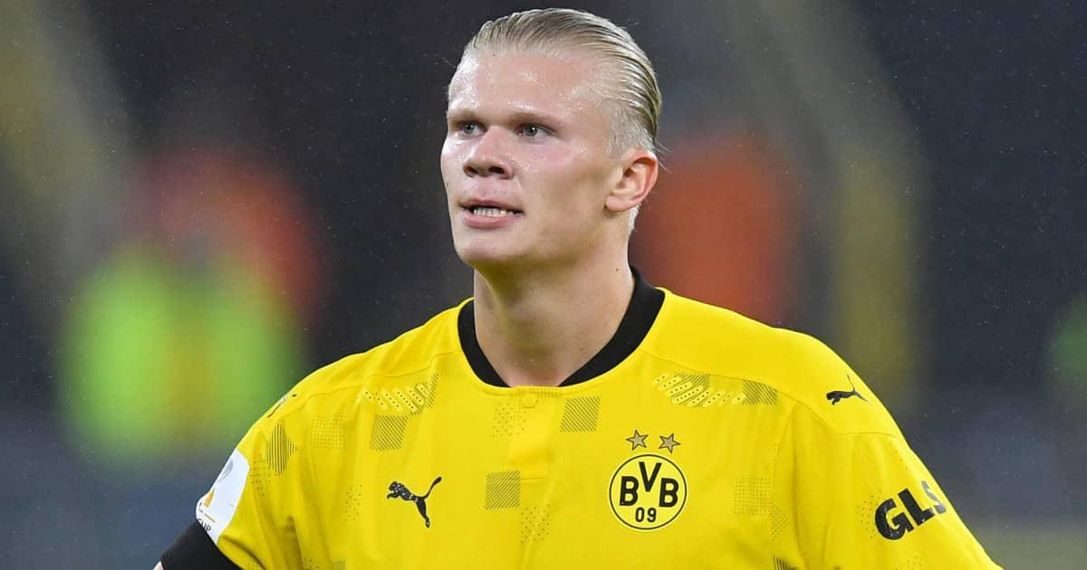 Dortmund striker Erling Haaland looking disappointed