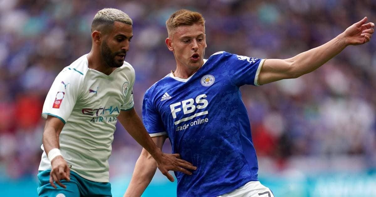 Riyad Mahrez and Harvey Barnes battle in Community Shield between Leicester and Man City