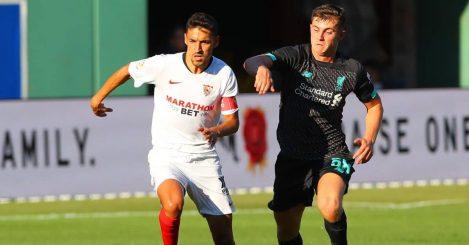 Ben Woodburn of Liverpool, Jesus Navas of Sevilla