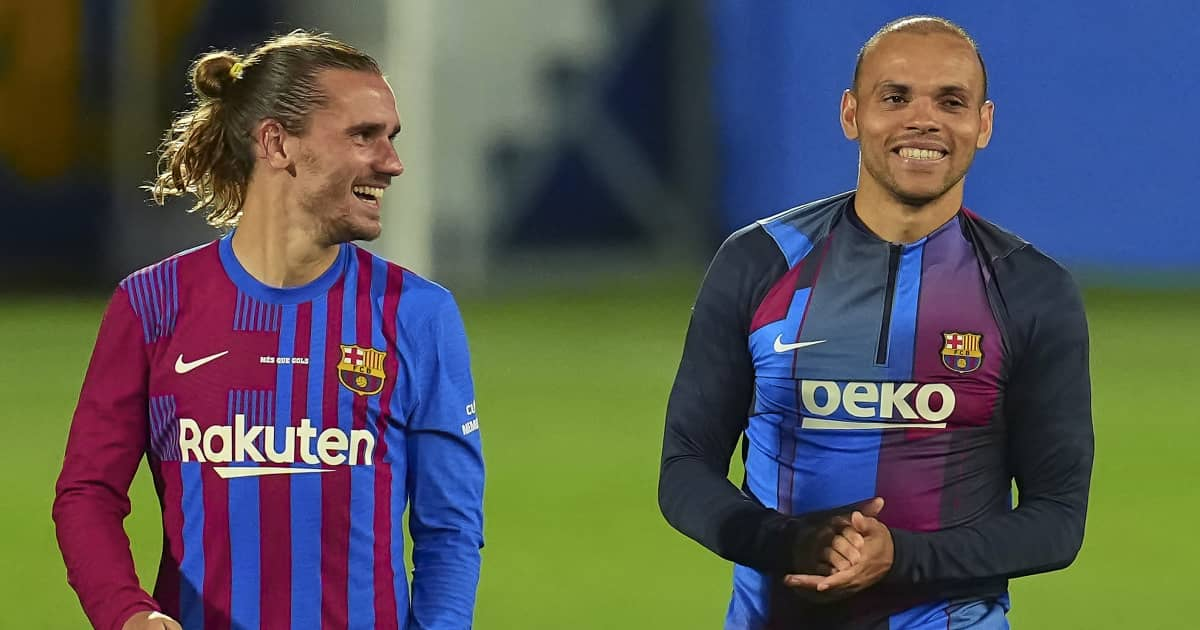 Barcelona duo Antoine Griezmann smiling after thei pre-season contest with Juventus 2021