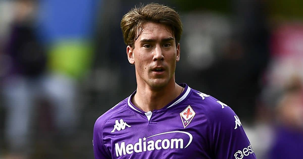Dusan Vlahovic of ACF Fiorentina in action during the pre-season friendly football match between ACF Fiorentina and Polisportiva