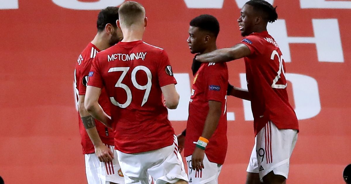 Amad Diallo of Manchester United celebrating his goal against AC Milan