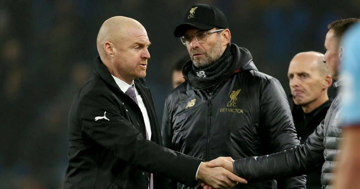 Liverpool manager Jurgen Klopp and Burnley boss Sean Dyche