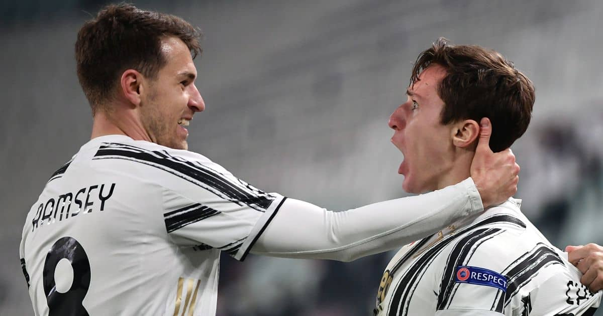Federico Chiesa of Juventus FC celebrates with Aaron Ramsey after scoring the goal of 2-1 during the Champions League round of 16 football match between Juventus FC and FC Porto at Juventus stadium in Turin