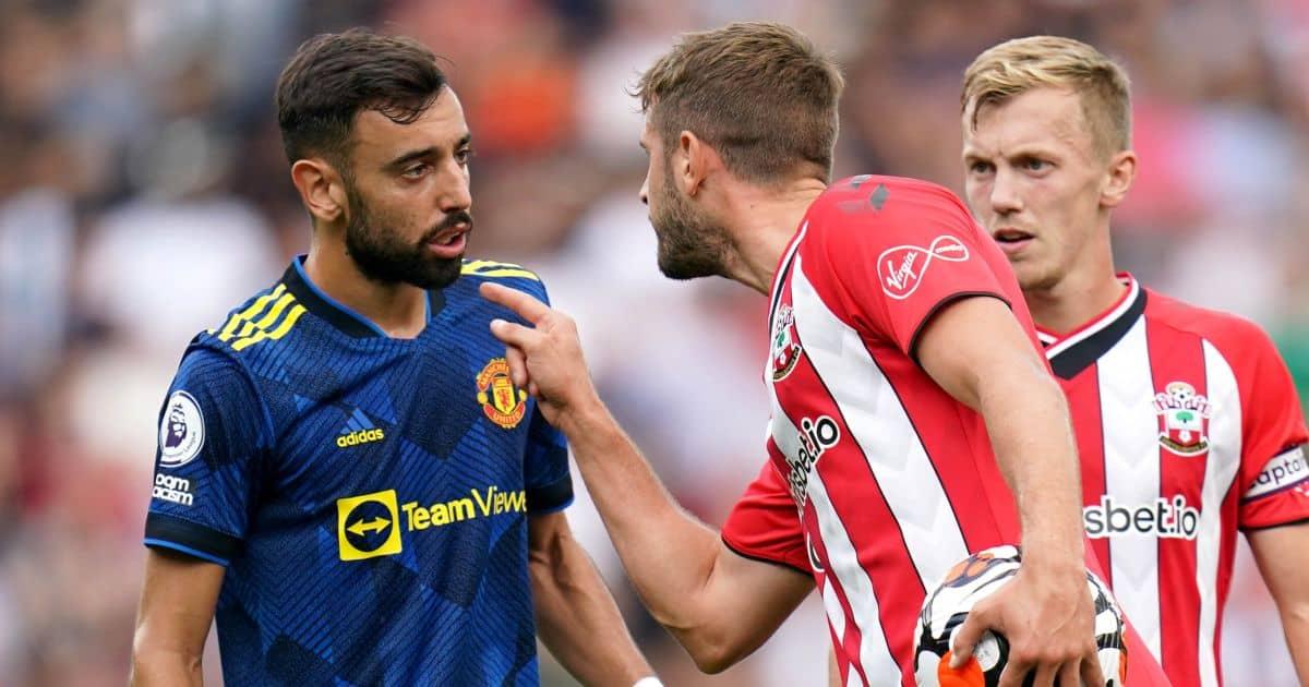 Man Utd's Bruno Fernandes and Southampton's Jack Stephens