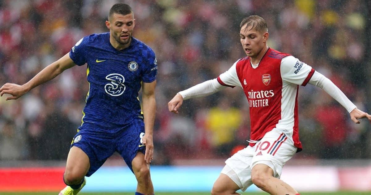 Arsenal's Emile Smith Rowe, Chelsea's Mateo Kovacic