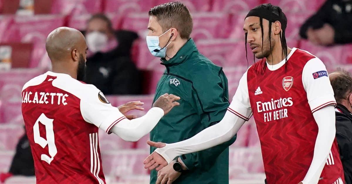 Alexandre Lacazette substituted for Pierre-Emerick Aubameyang during the UEFA Europa League match at Emirates Stadium, London v Slavia Prague
