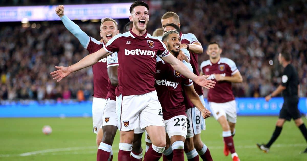 Declan Rice celebrates West Ham goal v Leicester August 2021