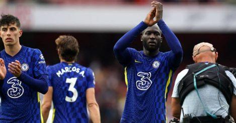Romelu Lukaku celebrates Chelsea win at Arsenal August 2021