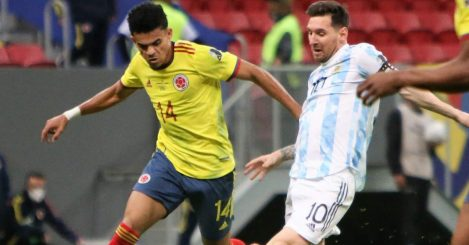 Luis Diaz battles with Lionel Messi during Colombia vs Argentina in the Copa America, July 2021