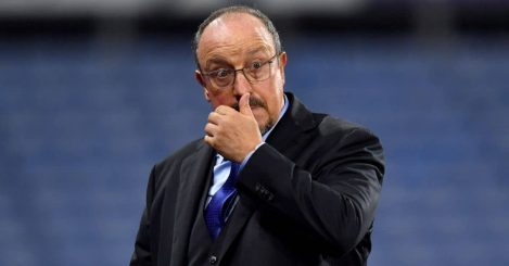 Rafael Benitez watches on during Everton's Carabao Cup 2nd round win at Huddersfield