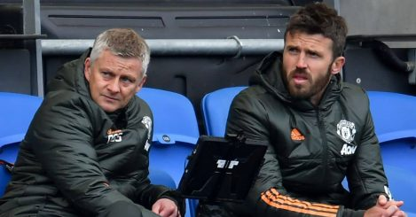 Manchester United manager Ole Gunnar Solskjaer (left) with first-team coach Michael Carrick in the stands during the Premier League match at the AMEX Stadium, Brighton