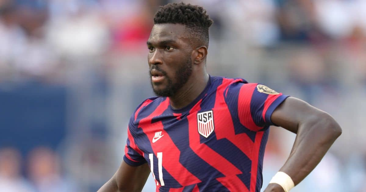 United States forward Daryl Dike (11) runs in action during the CONCACAF Gold Cup Group B match between the United States and Canada