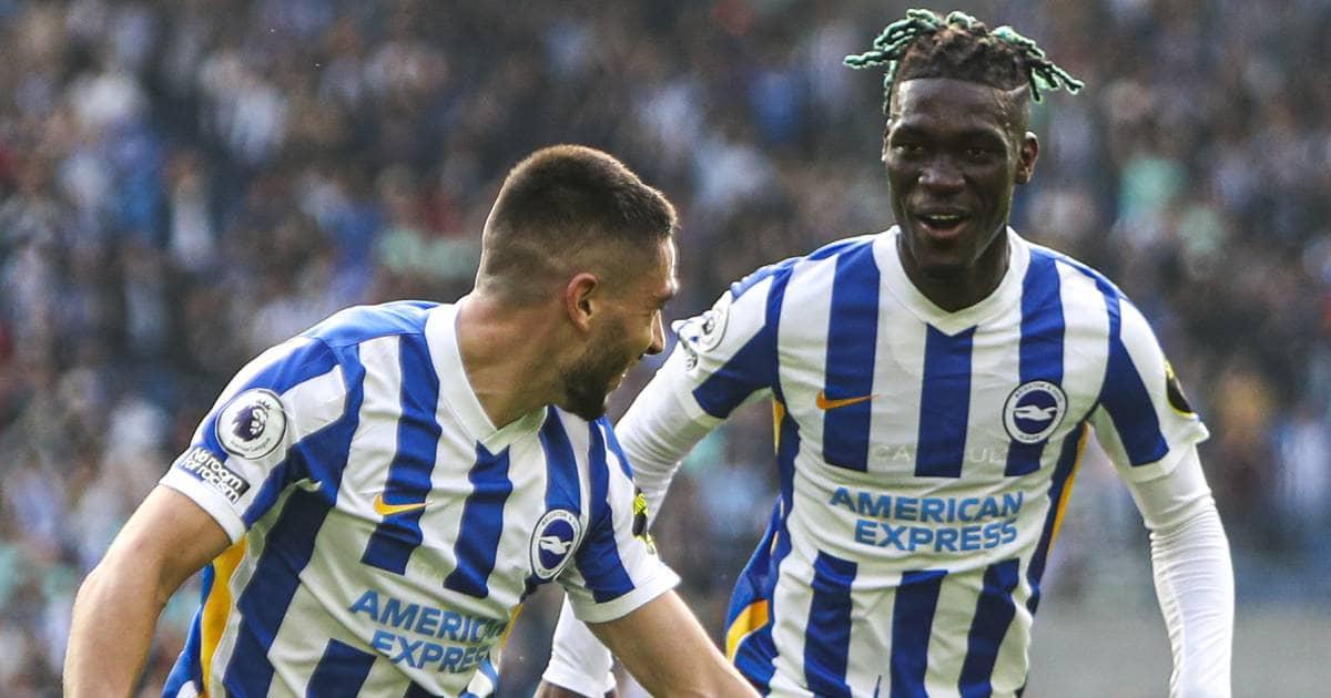 Neal Maupay celebrates Brighton's goal with Yves Bissouma