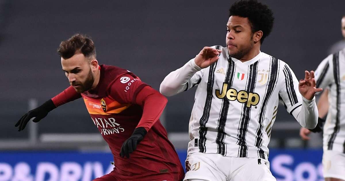 Juventus midfielder Weston McKennie challenges Borja Mayoral of Roma, February 2021