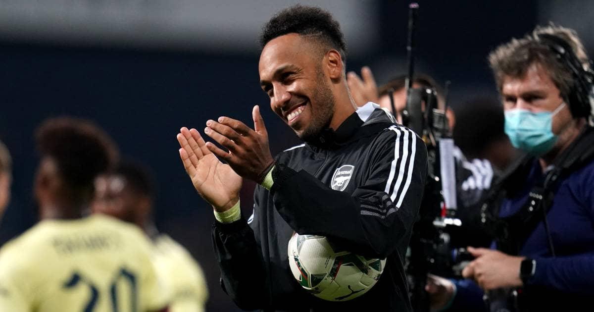Pierre-Emerick Aubameyang carrying match bal after scoring hat-trick for Arsenal