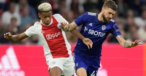 David Neres of Ajax and Mateusz Klich of Leeds battle for the ball, August 2021