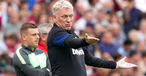 David Moyes on the sidelines during West Ham vs Crystal Palace, August 2021