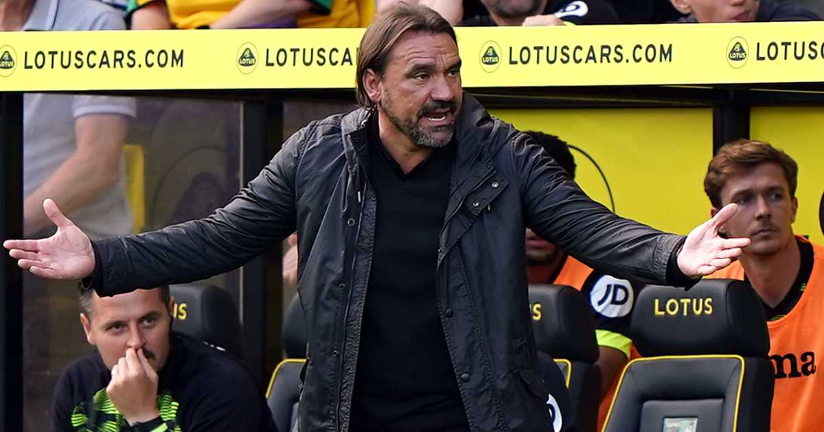 Daniel Farke on the sidelines during Norwich vs Leicester, August 2021