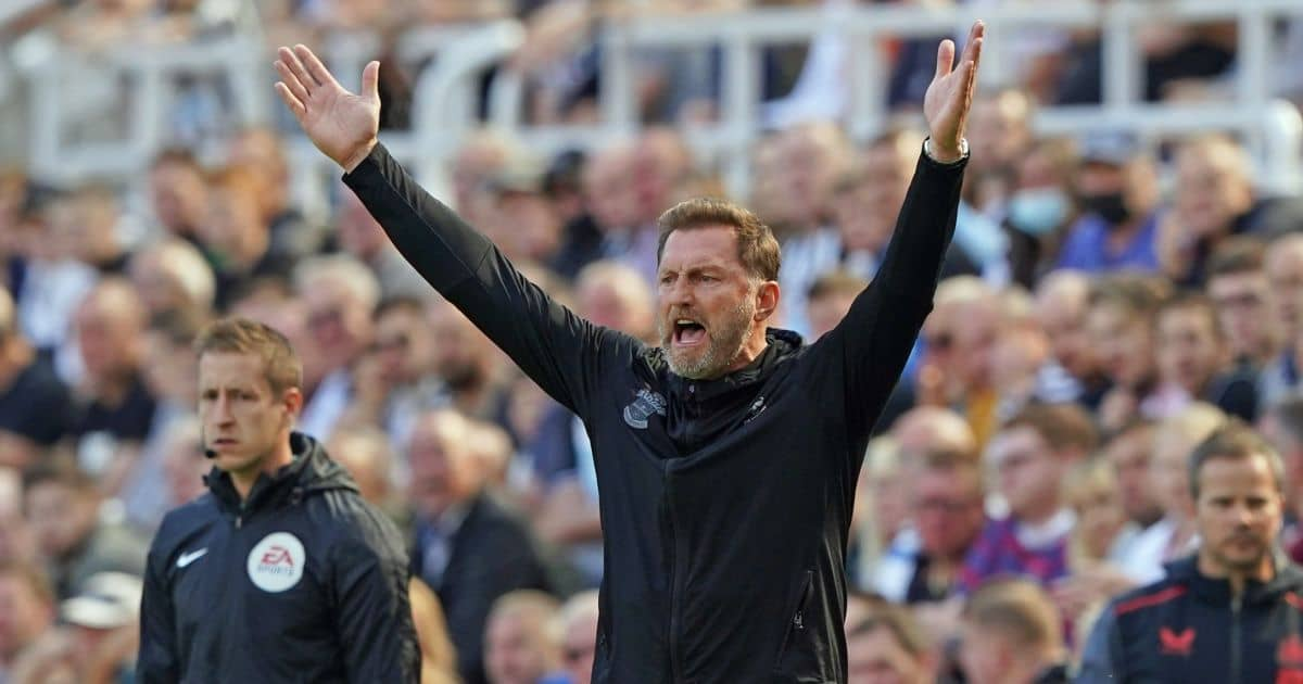 Ralph Hasenhuttl with raised arms under Newcastle against Southampton