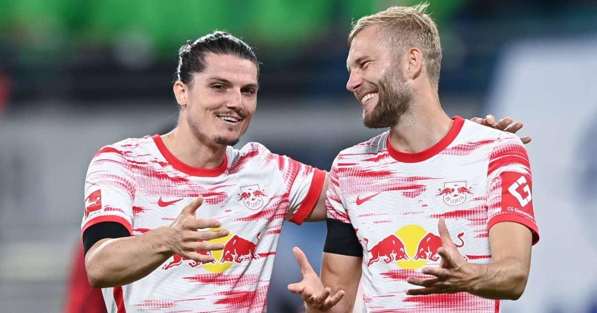 Marcel Sabitzer and Konrad Laimer after RB Leipzig v VFB Stuttgart