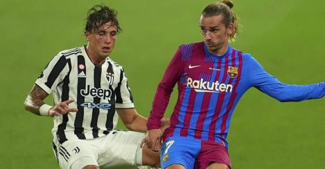 Luca Pellegrini of Juventus and Antoine Griezmann of Barcelona during a pre-season friendly, August 2021