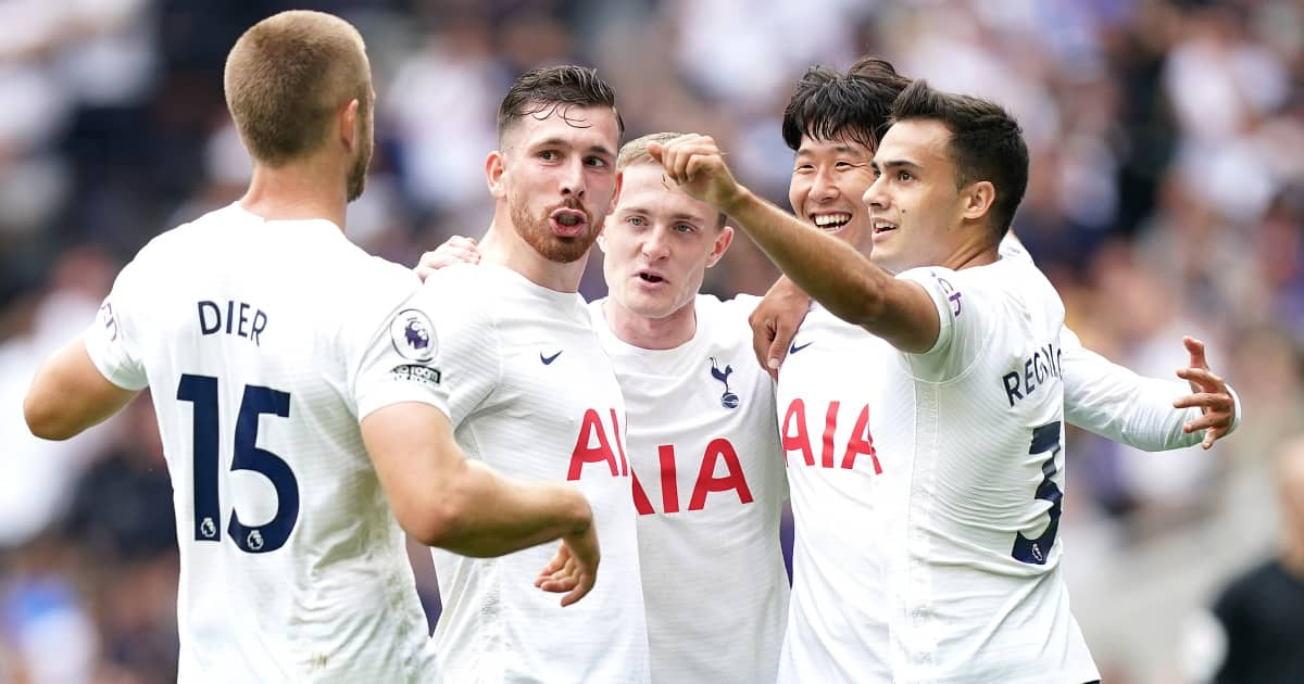 Tottenham forward Son Heung-min celebrating with his team-mates after scoring against Watford