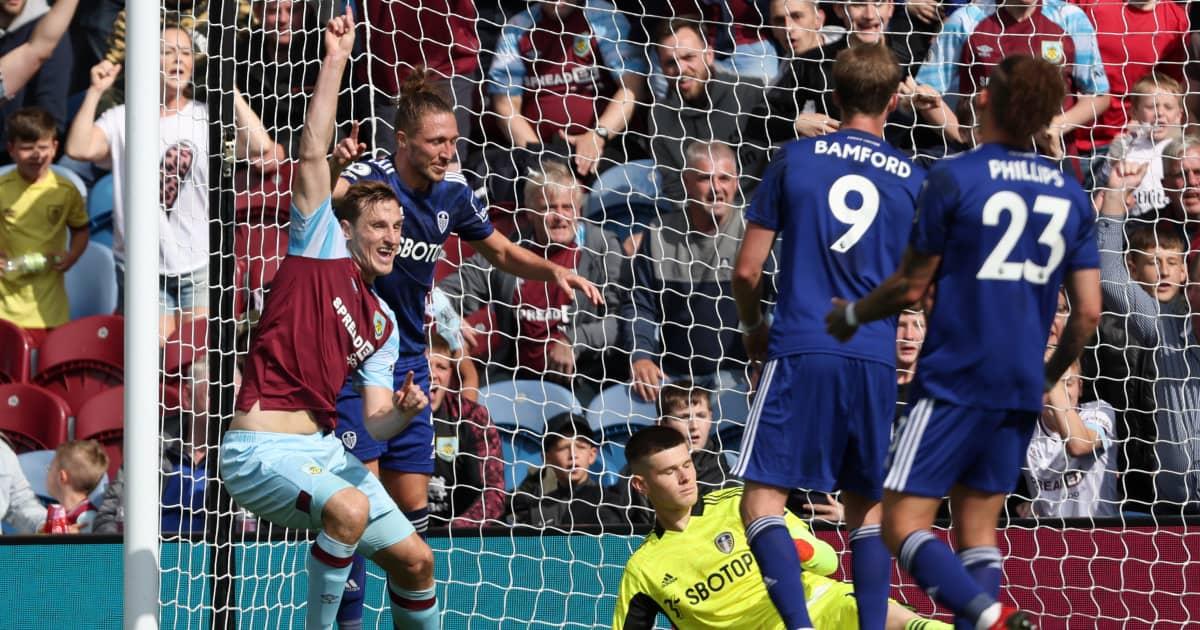Burnley striker Chris Wood celebrates scoring versus Leeds 2021