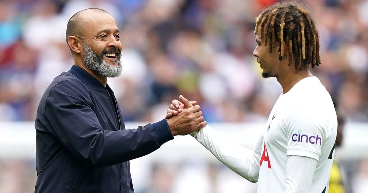 Tottenham manager Nuno Espirito Santo greeting Dele Alli