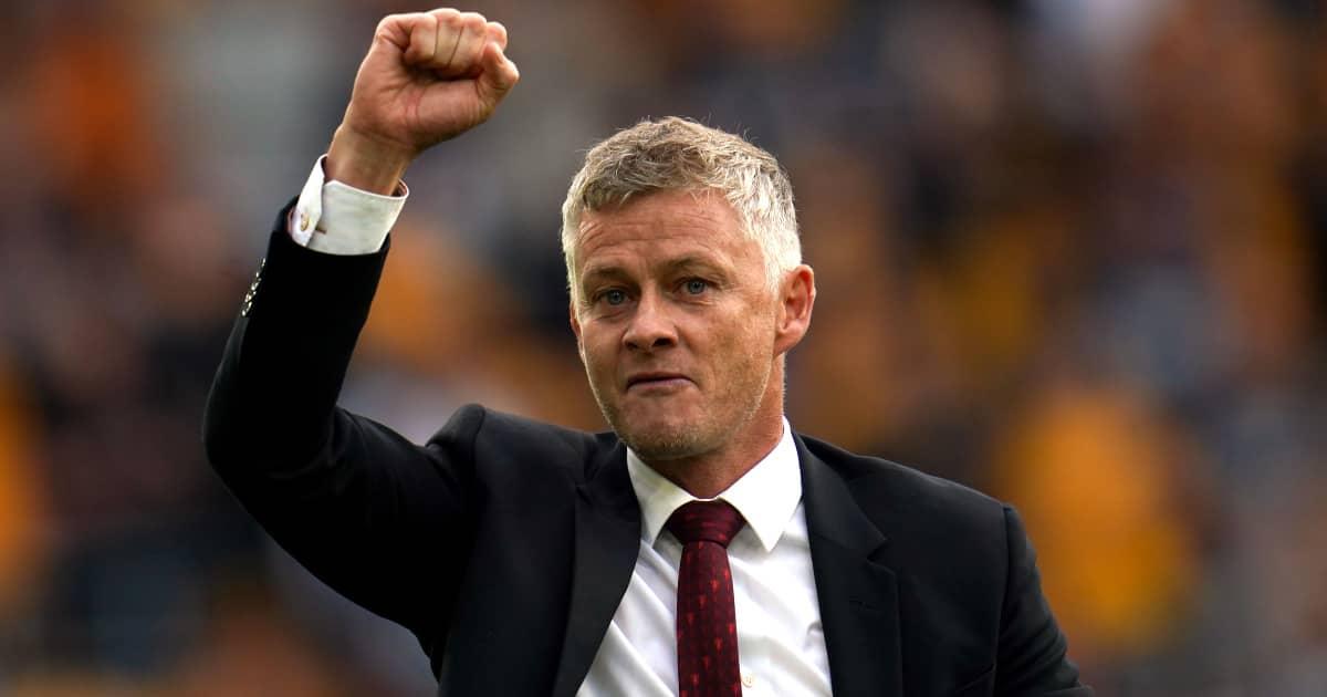 Man Utd manager Ole Gunnar Solskjaer celebrating after their 1-0 victory over Wolves