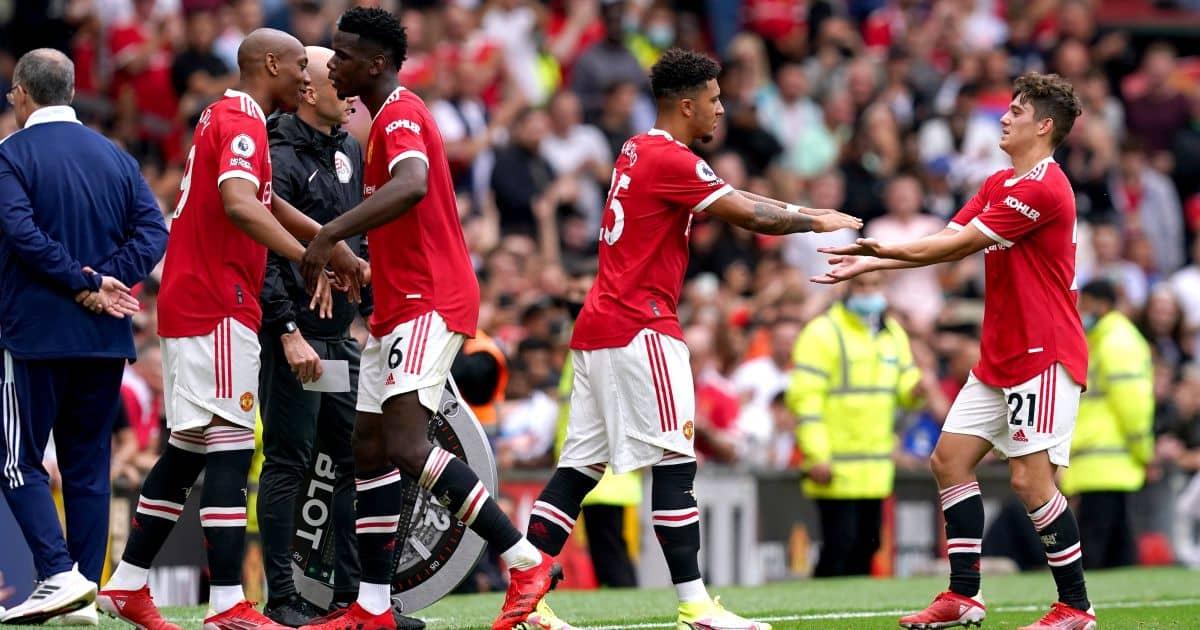 Man Utd players Daniel James, Jadon Sancho, Anthony Martial and Paul Pogba
