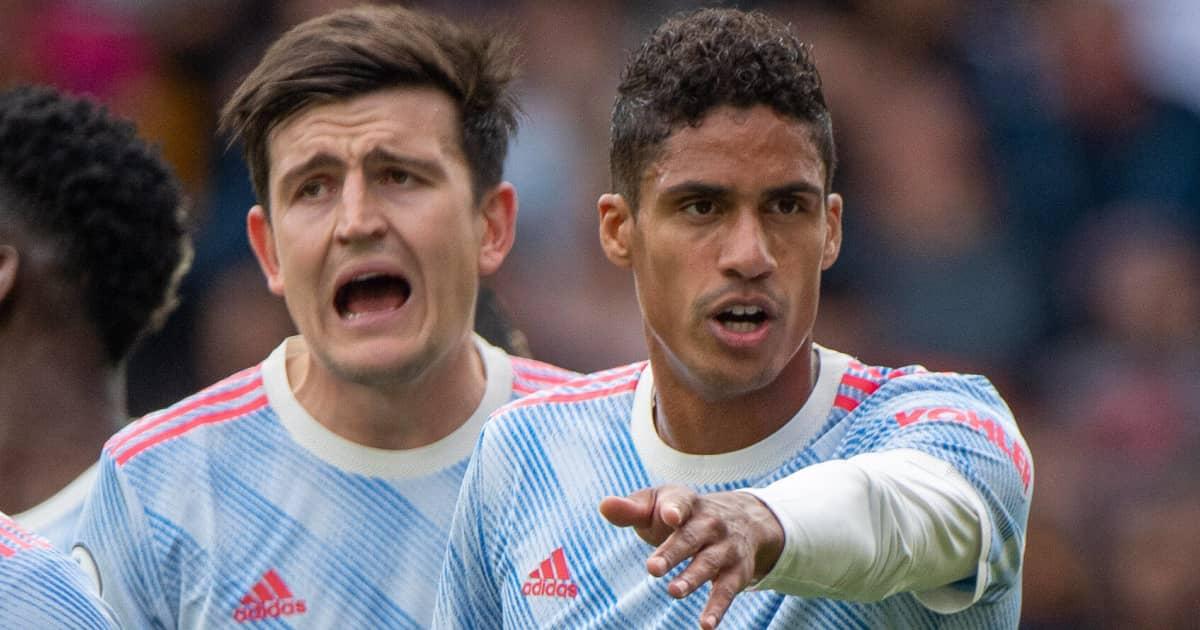 Man Utd stars Harry Maguire and Raphael Varane in action 2021