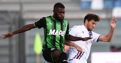 Jeremie Boga in action against Bartosz Bereszynski in game between Sassuolo and Sampdoria