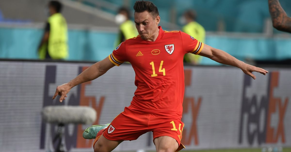 Connor Roberts in action for Wales June 2021