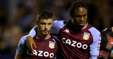 Frederic Guilbert and Caleb Chukwuemeka celebrate Aston Villa goal