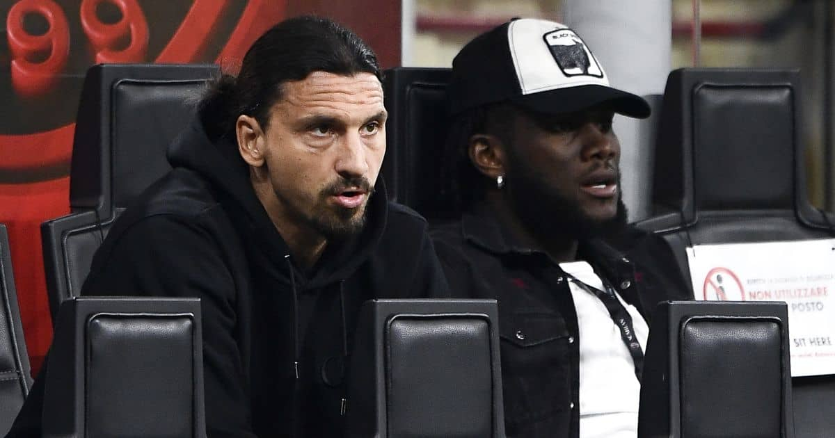 Zlatan Ibrahimovic and Franck Kessie watch match between AC Milan and Cagliari
