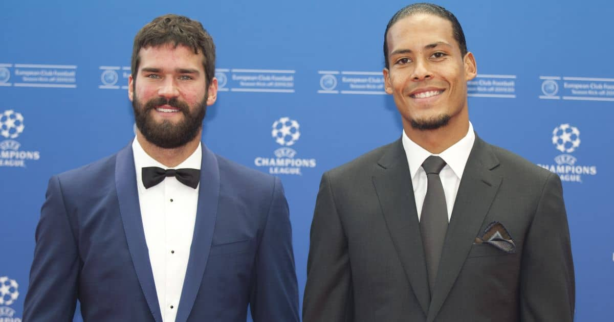 Alisson Becker, Virgil van Dijk at 2019/2020 UEFA Champions League Group Stage Draw and Player of the Year Awards