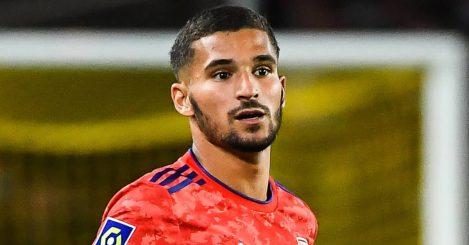 Lyon playmaker Houssem Aouar in Ligue 1 action 2021