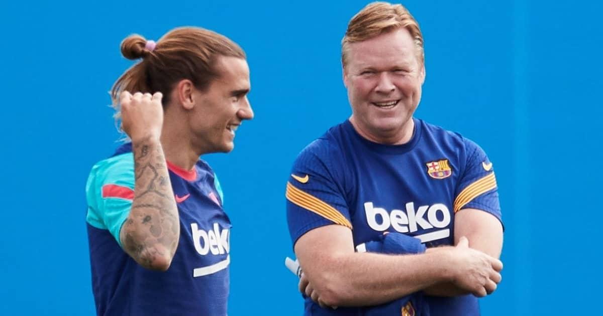 Antoine Griezmann in Barcelona training with Ronald Koeman