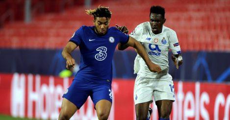 Zaidu Sanusi battles Reece James during Porto vs Chelsea UCL