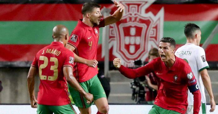 Cristiano Ronaldo celebrates breaking the world record for most international goals
